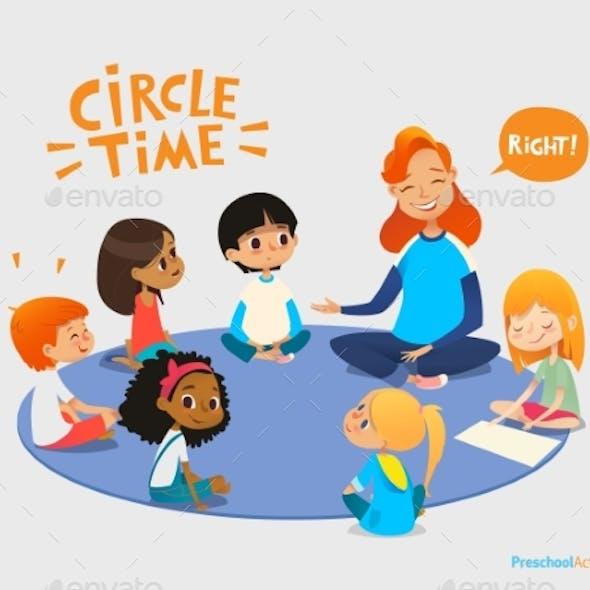Kids Listen and Talk To a Friendly Teacher