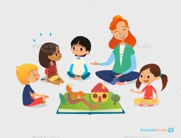 Teacher Tells Fairy Tales Using Pop-Up Book - Miscellaneous Vectors