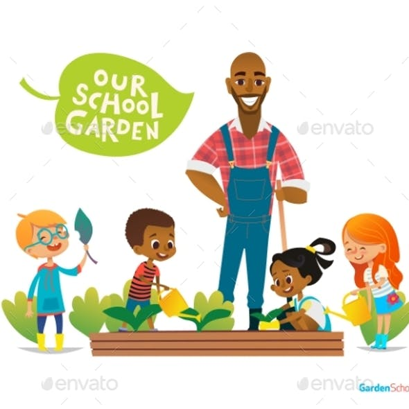 Teacher and Kids Engaged in Gardening