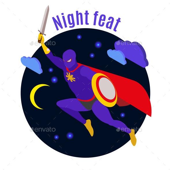 Super Hero Night Activity Illustration - People Characters