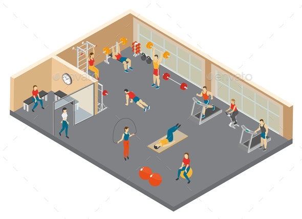 Fitness Hall Isometric Composition - Sports/Activity Conceptual