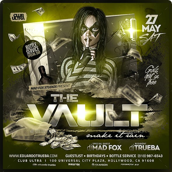 The Vault Make It Rain Party Flyer