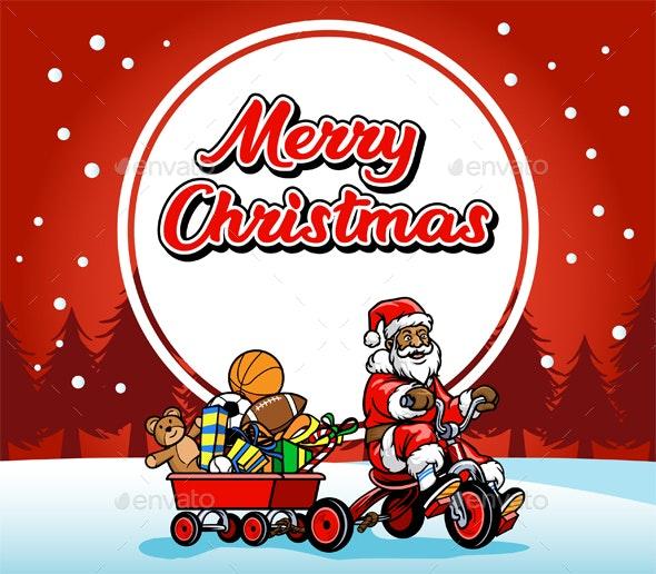Santa Claus Ride Bicycle Greeting Christmas Illustration - Christmas Seasons/Holidays