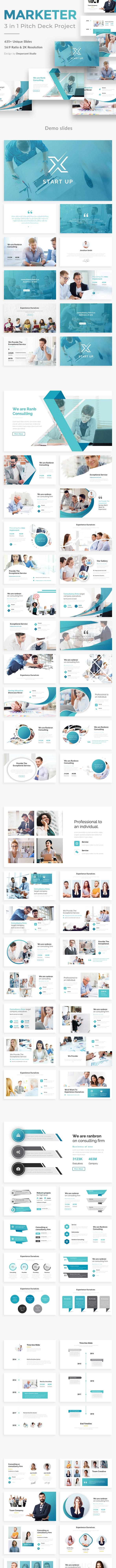 Marketer Pitch Deck 3 in 1 Bundle Powerpoint Template - Creative PowerPoint Templates