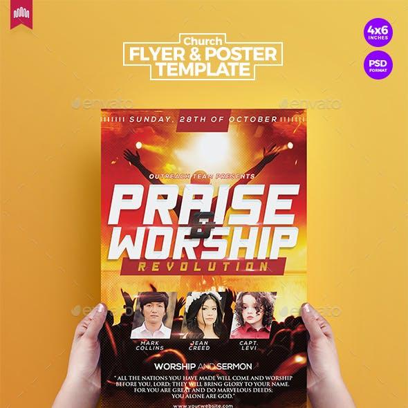 Praise & Worship - Church Flyer Template