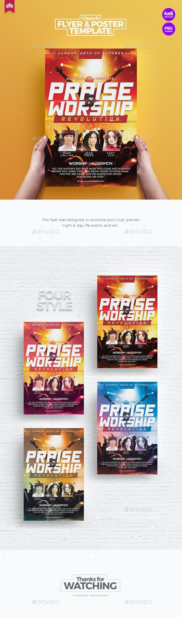 Praise & Worship - Church Flyer Template - Church Flyers
