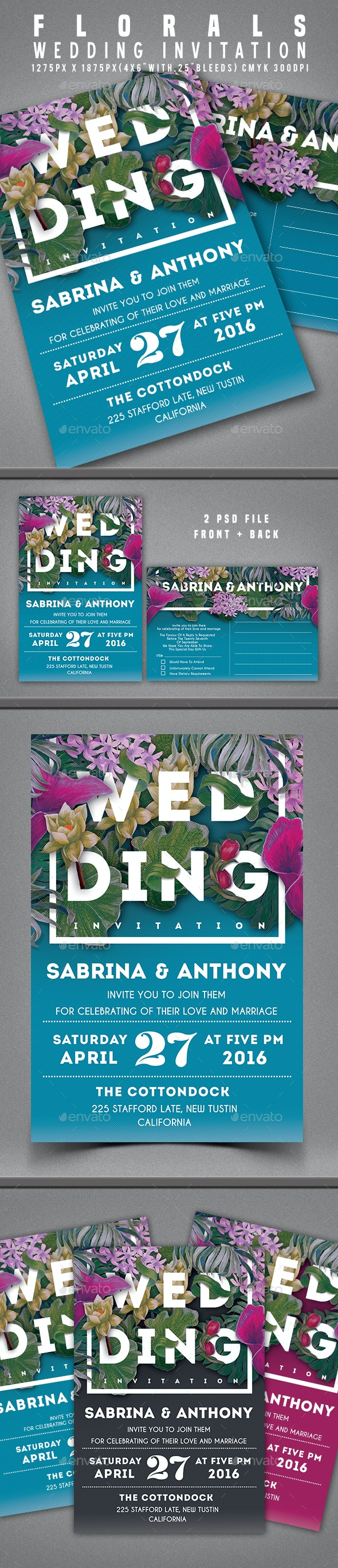 Floral Wedding Invitation - Invitations Cards & Invites