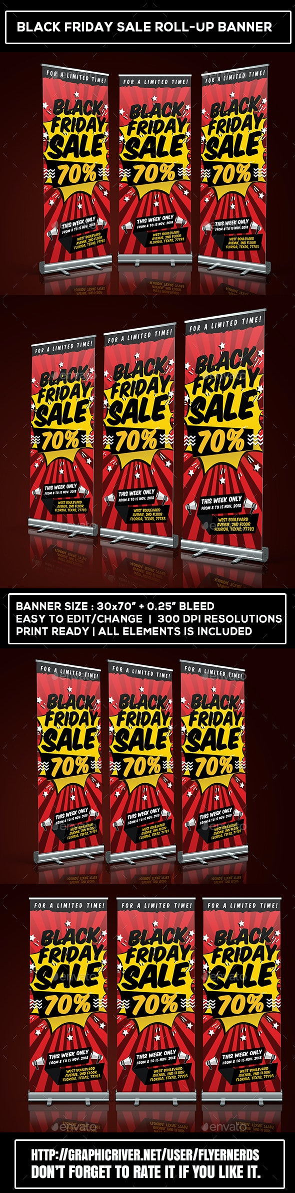 Black Friday Sale Roll-Up Banner - Signage Print Templates