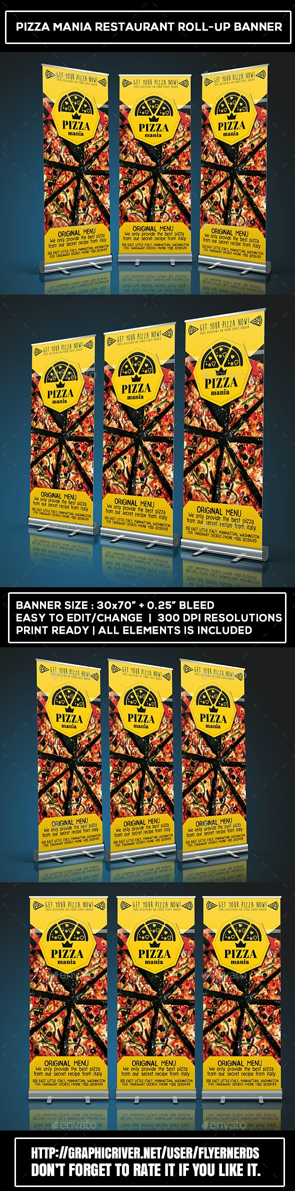 Pizza Mania Restaurant Roll-Up Banner - Signage Print Templates