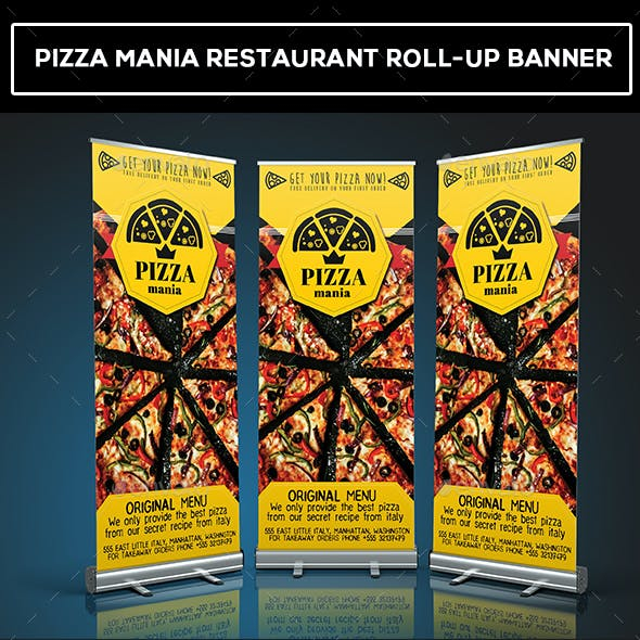 Pizza Mania Restaurant Roll-Up Banner