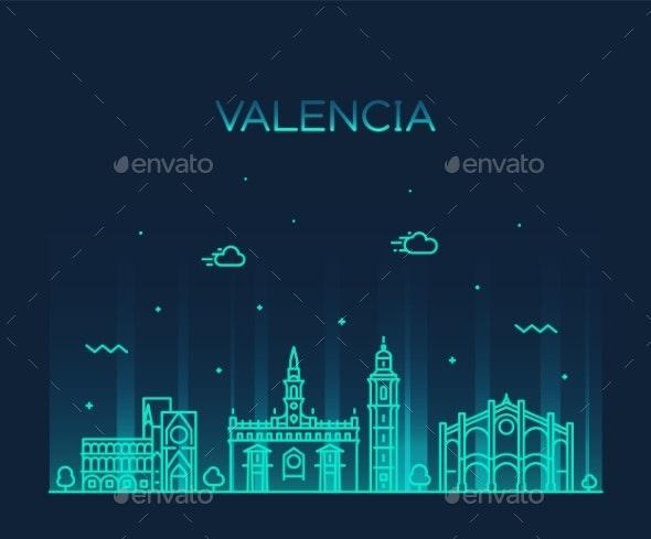 Valencia Skyline Spain Vector City Linear Style - Buildings Objects