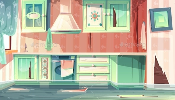 Vector Flood in Dirty Kitchen - Backgrounds Decorative