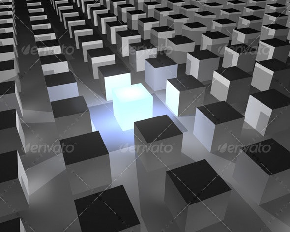 Cube standing out - 3D Backgrounds