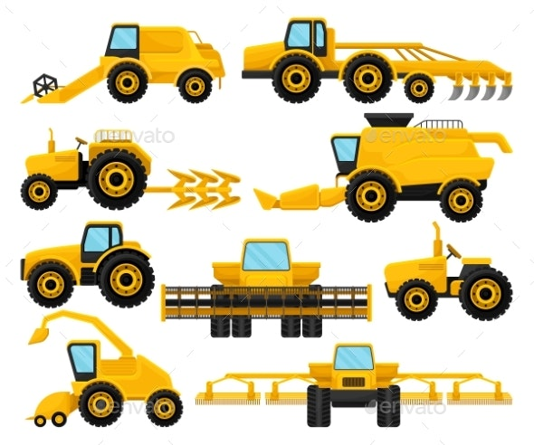 Flat Vector Set of Different Agricultural - Objects Vectors