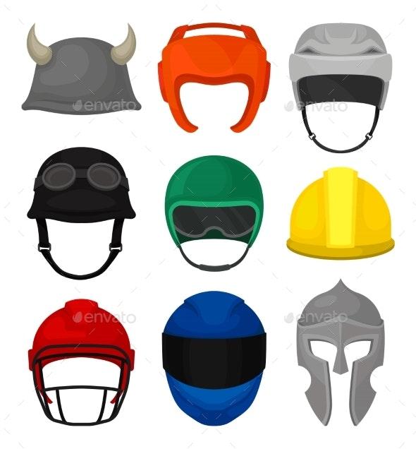Flat Vector Set of 9 Helmets. Protective Headgear - Objects Vectors