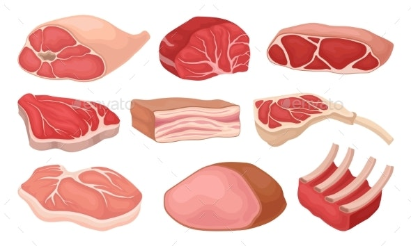 Flat Vector Set of Meat Products. Fresh Beef, Pork - Food Objects