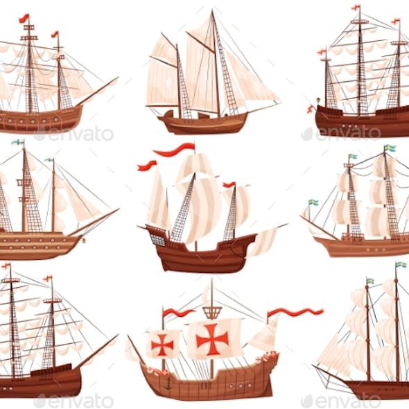 Flat Vector Set of Old Wooden Ships. Large Marine