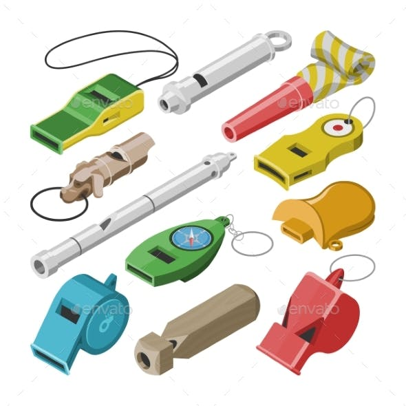 Whistle Vector Coach Whistling Sound Tool