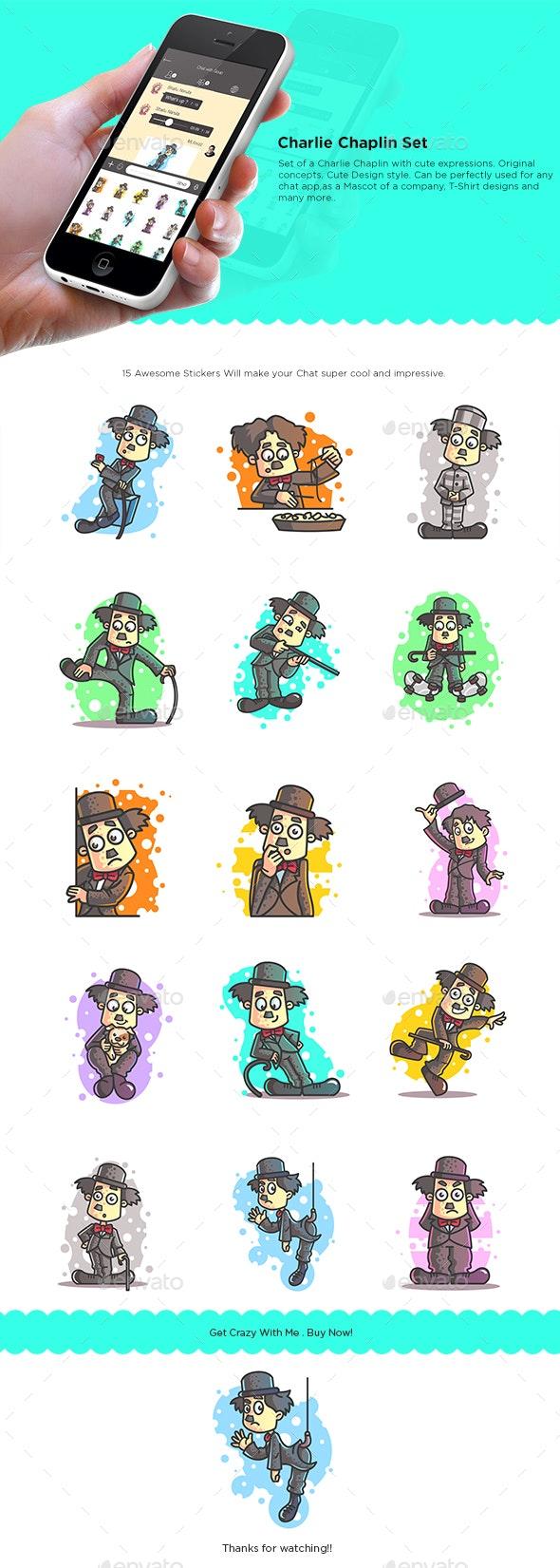 Cartoon Charlie Chaplin Stickers - People Characters