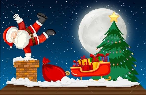 Santa Going Down Chimney Scene - Christmas Seasons/Holidays