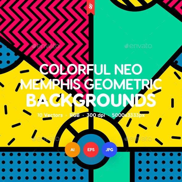 Colored Neo Memphis Geometric Seamless Patterns