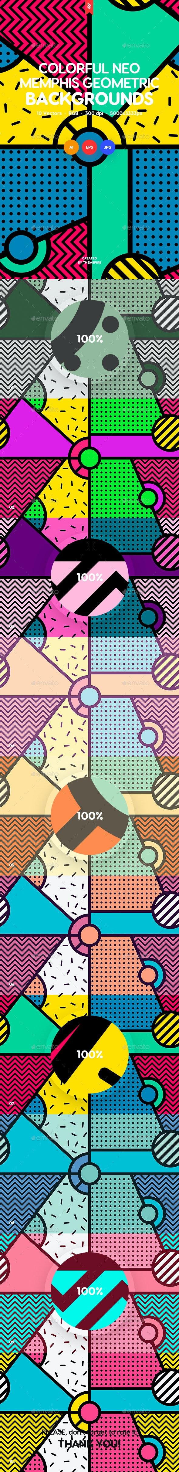 Colored Neo Memphis Geometric Seamless Patterns - Patterns Backgrounds
