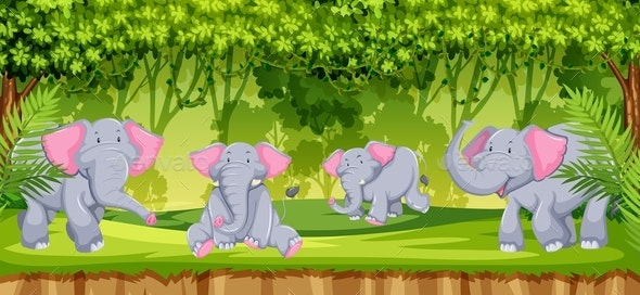 Elephants in The Jungle Scene - Animals Characters