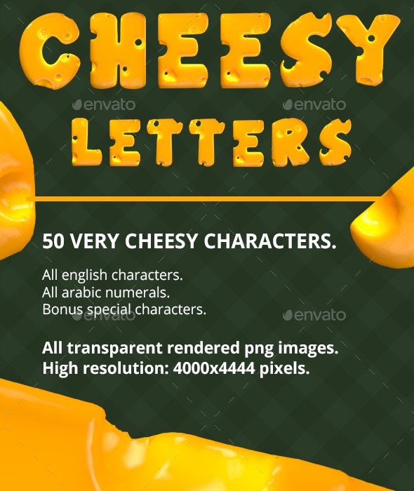 Cheesy Letters - Text 3D Renders