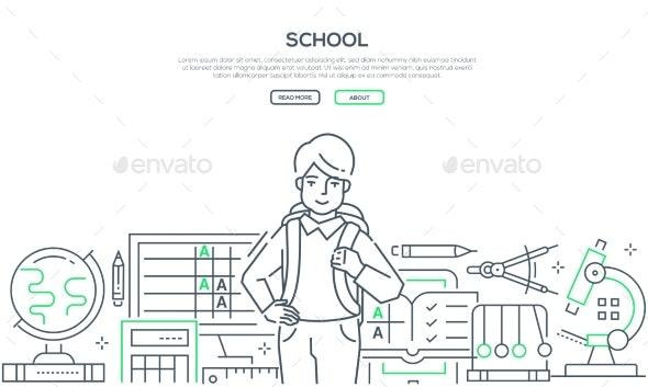 School - Modern Line Design Style Web Banner - Miscellaneous Conceptual
