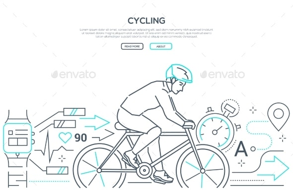 Cycling - Modern Line Design Style Web Banner - Sports/Activity Conceptual