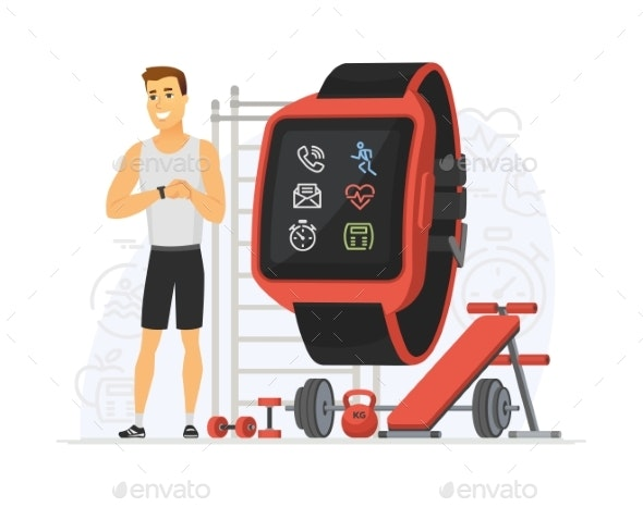 Fitness Tracker - Modern Vector Cartoon Character - Sports/Activity Conceptual