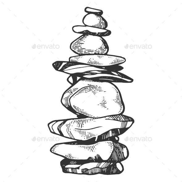 Tower of Balancing Stones Engraving Vector