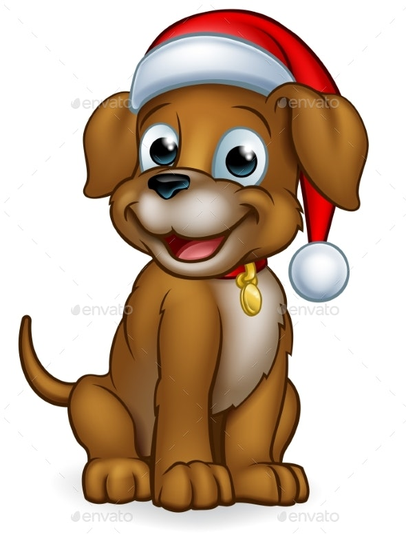 Pet Dog in Christmas Santa Claus Hat - Christmas Seasons/Holidays