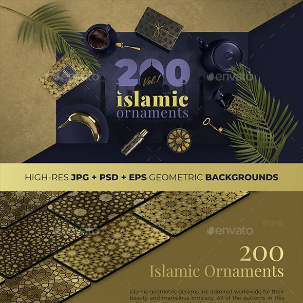 200 Islamic Ornaments - Geometric Backgrounds Collection