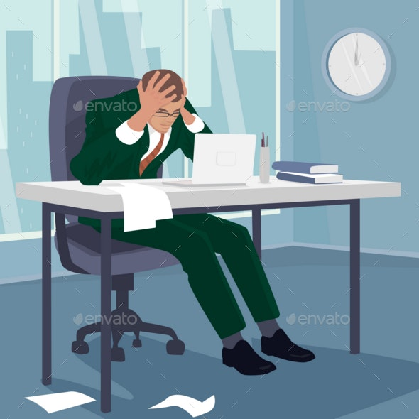 Businessman Grabbing His Head in Despair in Office - People Characters