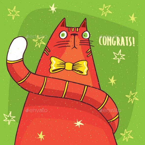 Cat with Yellow Bow and Congratulation