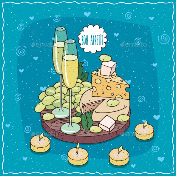 Champagne or Cider and Grapes and Cheese - Food Objects