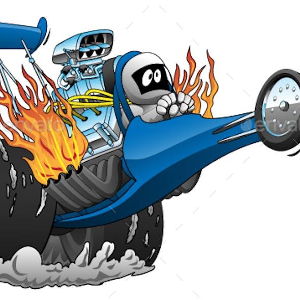 Top Fuel Dragster Cartoon Vector illustration