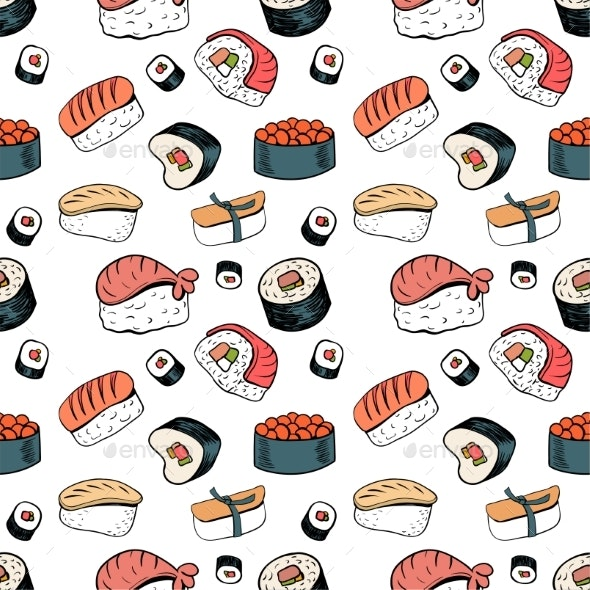Sushi Seamless Background - Food Objects