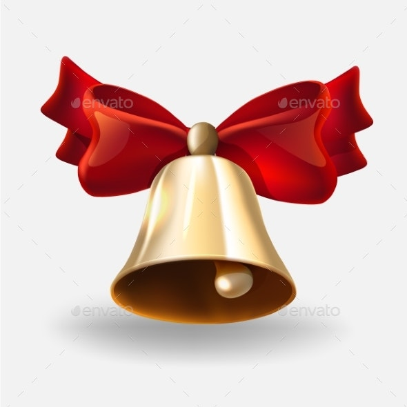 Realistic Bell with Red Bow - Miscellaneous Vectors