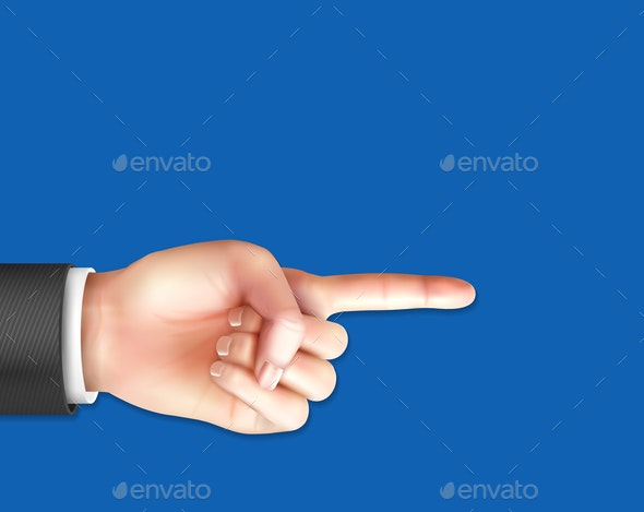 Male Hand With Pointing Index Finger - People Characters