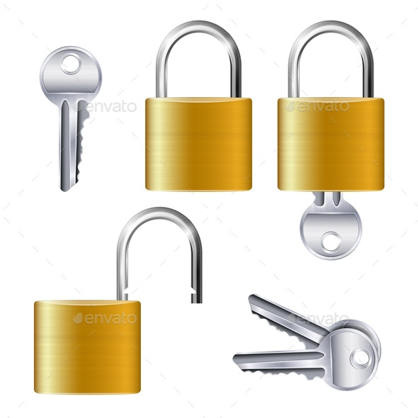 Realistic Set of Identical Gold Padlocks - Miscellaneous Vectors