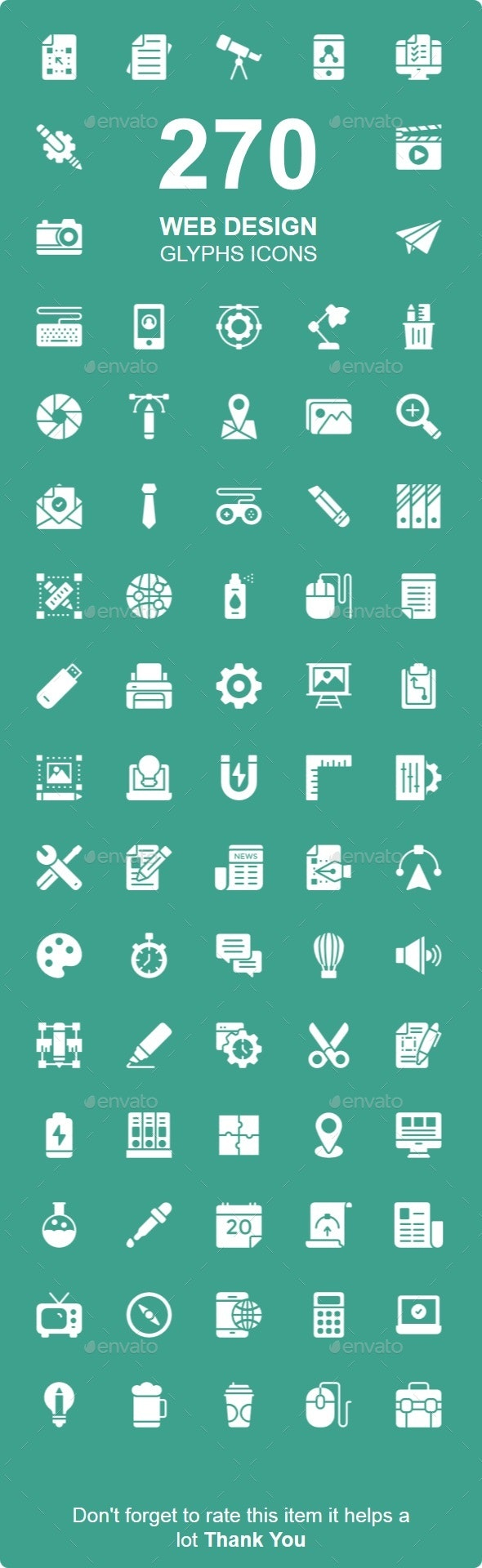 Web Design, Development & User Interface Glyphs icons - Business Icons