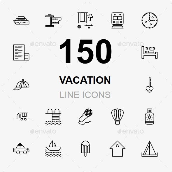Vacation and Travel line icons