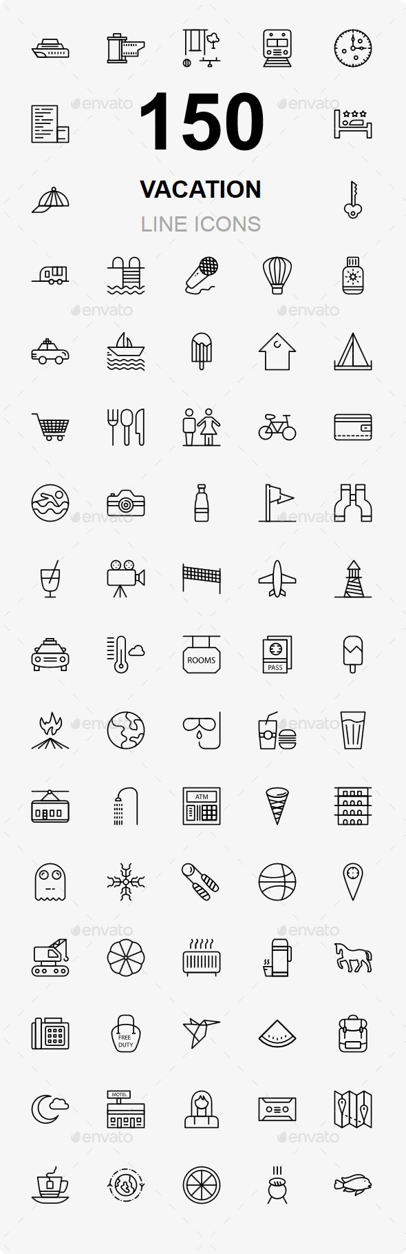 Vacation and Travel line icons - Business Icons