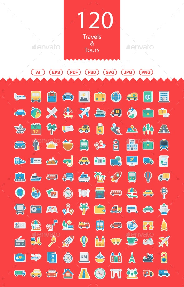 Travels & Tours Flats Icons - Business Icons