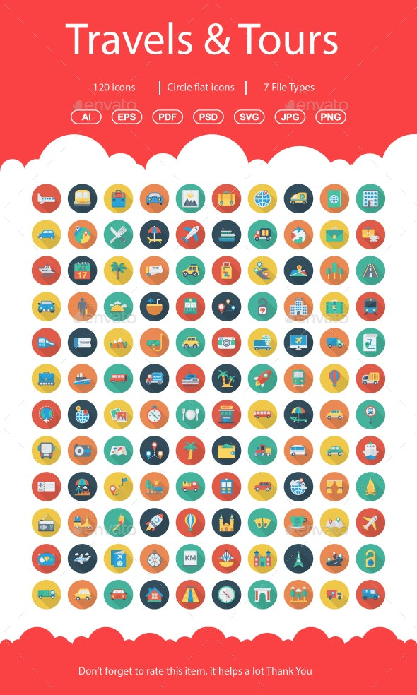 Travels & Tours Flat Circle Shadow Icons - Business Icons
