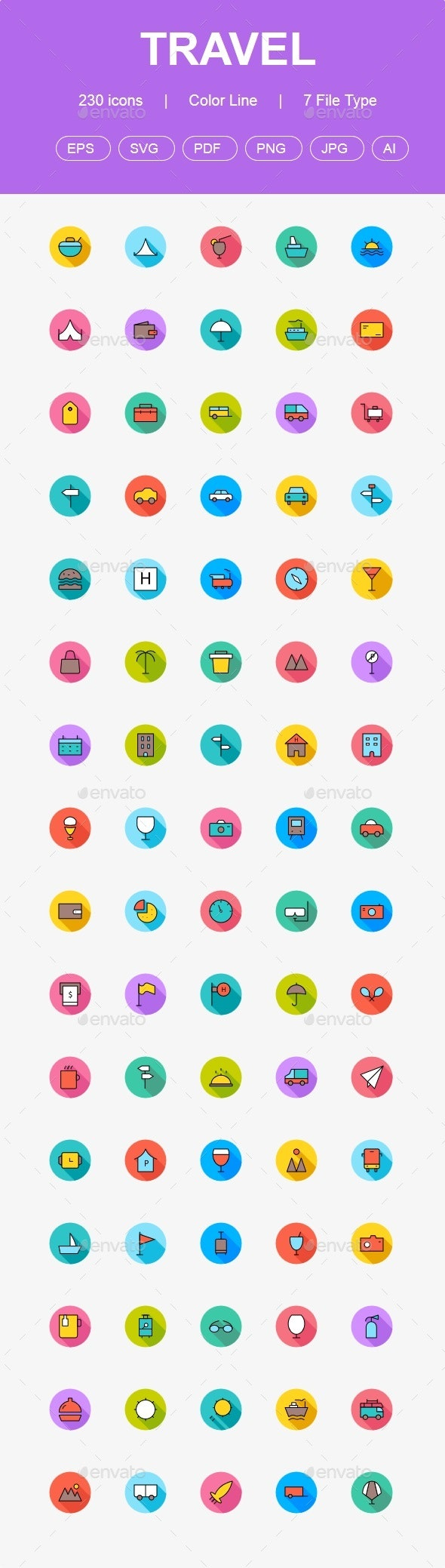 230 Travel & Tours Flat Circle icons - Business Icons