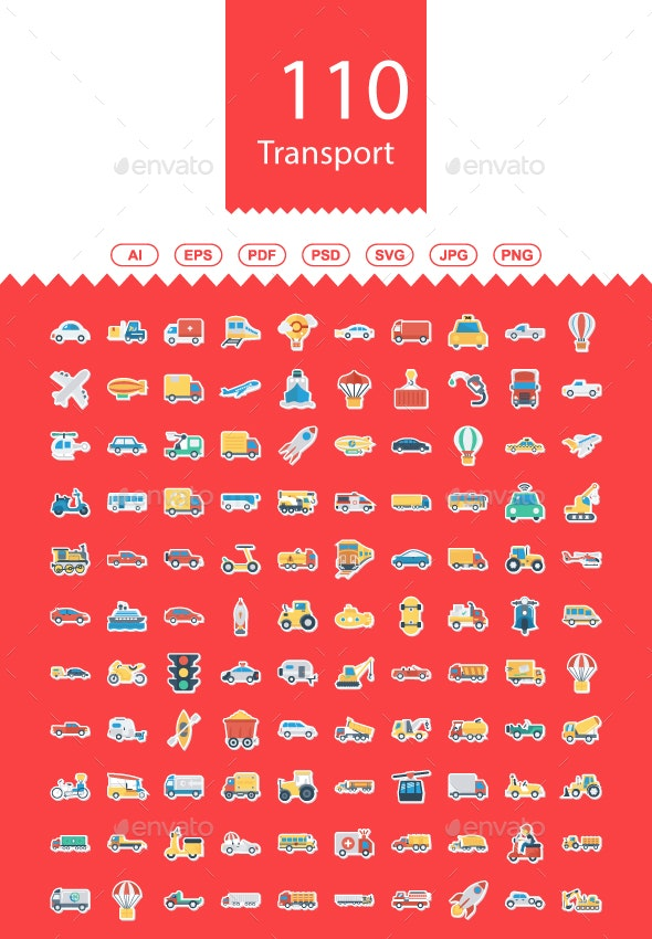 110 Transport Flat Sticker Icons - Business Icons