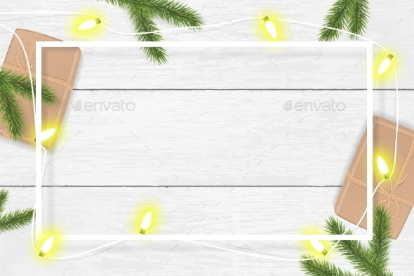 Christmas and New Year Vector Background with Fir - Christmas Seasons/Holidays